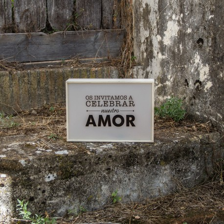 """CAJA DE LUZ  """"OS INIVITAMOS A CELEBRAR NUESTRO AMOR"""""""