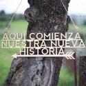 """LETRERO MADERA """"AQUÍ COMIENZA NUESTRA NUEVA HISTORIA"""""""